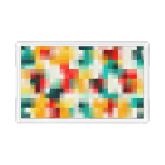 Red Blue Green Yellow White Abstract Pattern Acrylic Tray