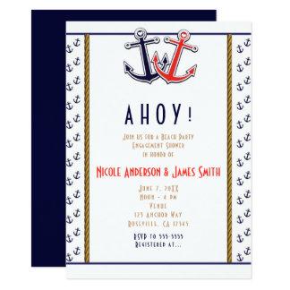 Red & Blue Heart Anchors Nautical Beach Engagement Card