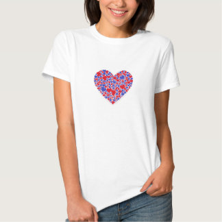 Red & blue hearts on white background tshirts