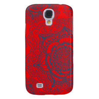 Red Blue Mandala Pattern Samsung Galaxy S4 Covers
