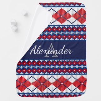 Red & Blue Nordic Argyle Pattern & Baby's Name Baby Blanket