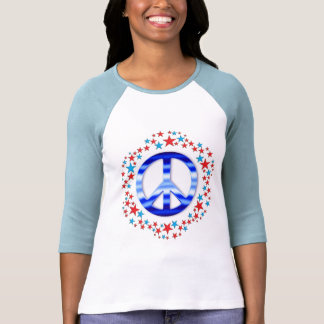 Red & Blue Peace Signs with Stars T Shirt