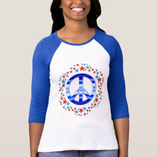 Red & Blue Peace Signs with Stars T-Shirt