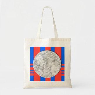 red blue photo frame budget tote bag