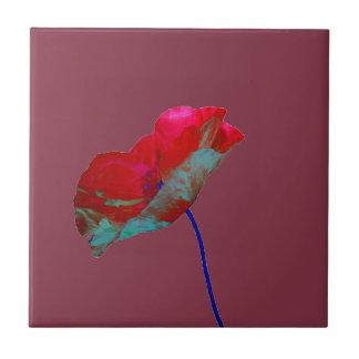 Red blue poppy on burgundy red tile
