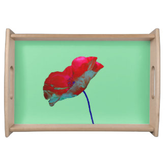 Red blue poppy on emerald green serving tray