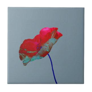 Red blue poppy on grey ceramic tile