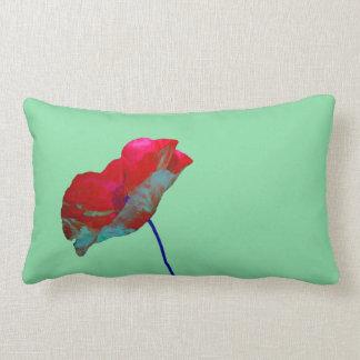 Red blue poppy on mint green lumbar pillow
