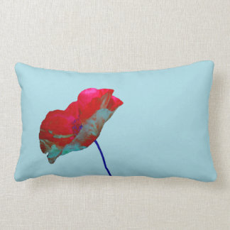 Red blue poppy on pastel blue lumbar pillow
