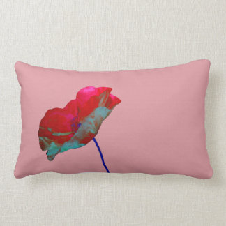 Red blue poppy on pink lumbar cushion