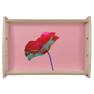 Red blue poppy on pink serving tray