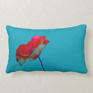 Red blue poppy on sky blue lumbar pillow