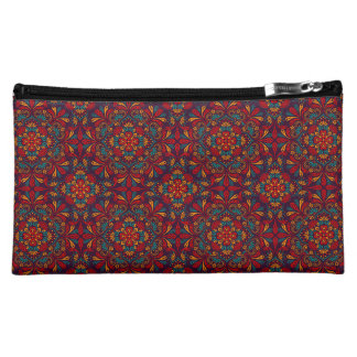 Red blue purple kaleidoscope patter cosmetic bag