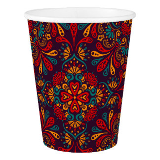 Red blue purple kaleidoscope pattern paper cup