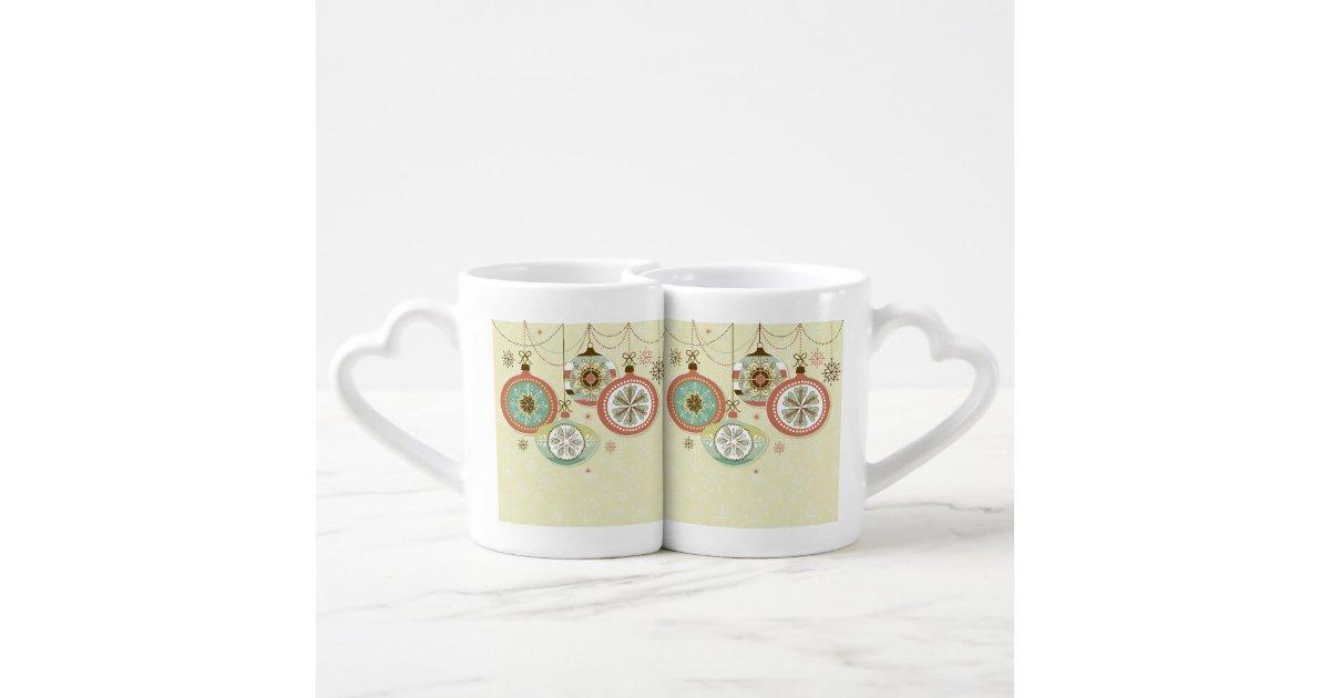 red blue retro christmas ornaments lovers mug sets zazzle. Black Bedroom Furniture Sets. Home Design Ideas