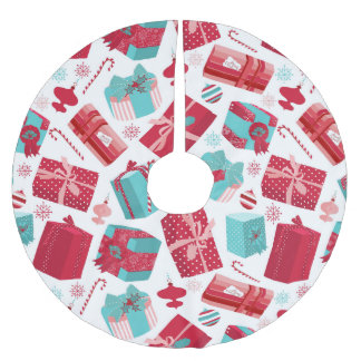 Red & Blue Retro Christmas Packages Brushed Polyester Tree Skirt