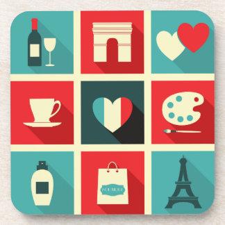 Red Blue Retro Paris Collage Coaster