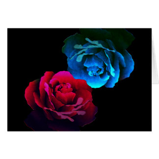 Red & Blue Roses Note Card