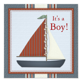 Red Blue Sailboat Baby Shower Card