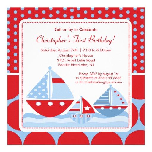 Red & Blue Sailboat Birthday Invitation