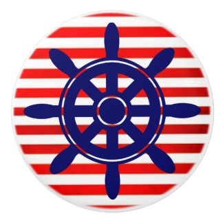 Red Blue Ship Wheel  Nautical Themed Cabinet Knob
