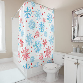 Red blue snowflakes - Christmas gifts Shower Curtain