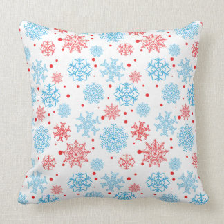 Red blue snowflakes - Christmas gifts Throw Pillow