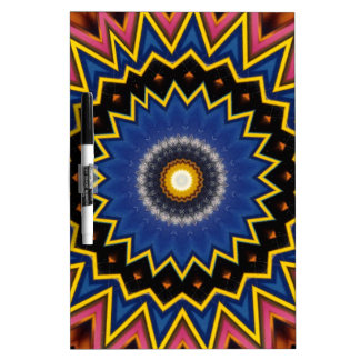 Red Blue Spiked Mandala Pattern Dry Erase Boards