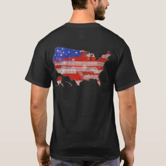 red blue stars and stripes U.S.A. map T-Shirt