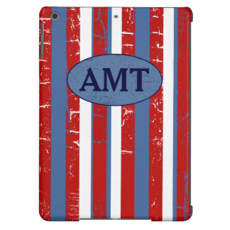 red & blue stripes & initials iPad air cases