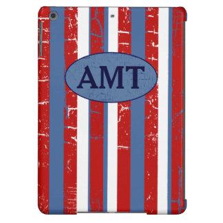 red & blue stripes & initials iPad air cases