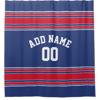 Red Blue Stripes Sports Jersey U can CHANGE COLOR Shower Curtain