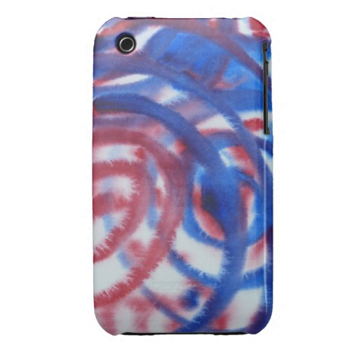 Red, Blue Swirls on Light Gray. Abstract Pattern. iPhone 3 Cover