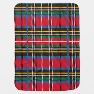 Red, Blue tartan and Cloud Baby Blanket