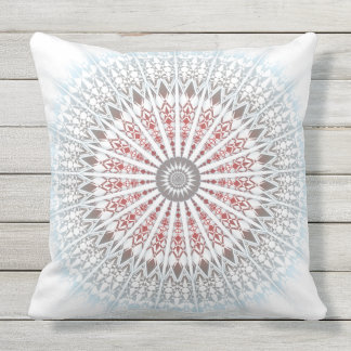 Red Blue Taupe White Mandala Geometric Outdoor Cushion