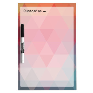 Red Blue Teal Geometric Tiangles Dry Erase White Board