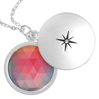 Red Blue Teal Geometric Tiangles Pattern Silver Plated Necklace
