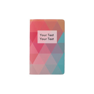 Red Blue Teal Geometric Tiangles Pocket Moleskine Notebook