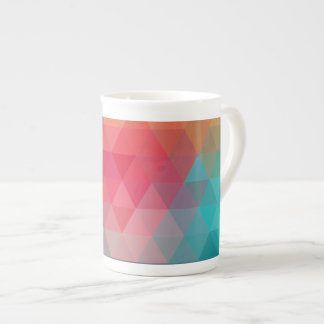 Red Blue Teal Geometric Tiangles Tea Cup