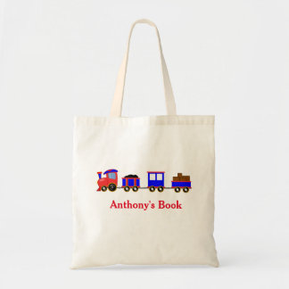 Red Blue train kids named library Budget Tote Bag