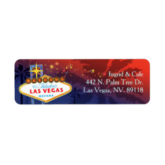 Red + Blue Unique Las Vegas Wedding Return Address Label