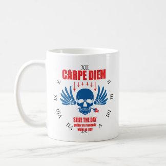 Red Blue Vintage Retro Carpe Diem. Seize the day Coffee Mug
