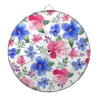 Red & Blue Watercolor Floral Pattern Dart Boards