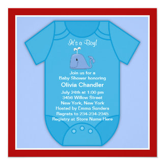 Red Blue Whale Baby Shower Card