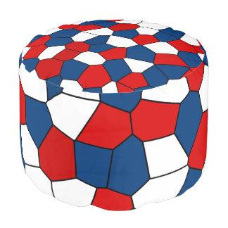 Red Blue White Pattern Pouf