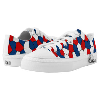 Red Blue White Pattern Printed Shoes