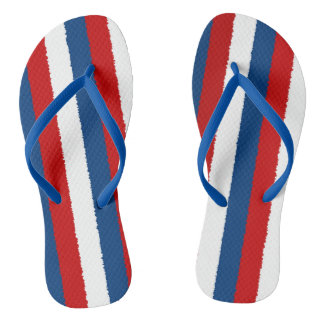 Red Blue White Pattern Thongs