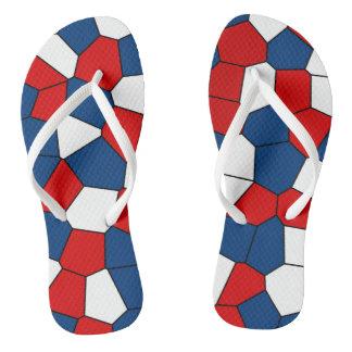 Red Blue White Pattern Thongs