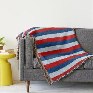 Red Blue White Pattern Throw Blanket