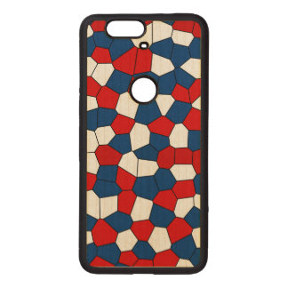Red Blue White Pattern Wood Nexus 6P Case